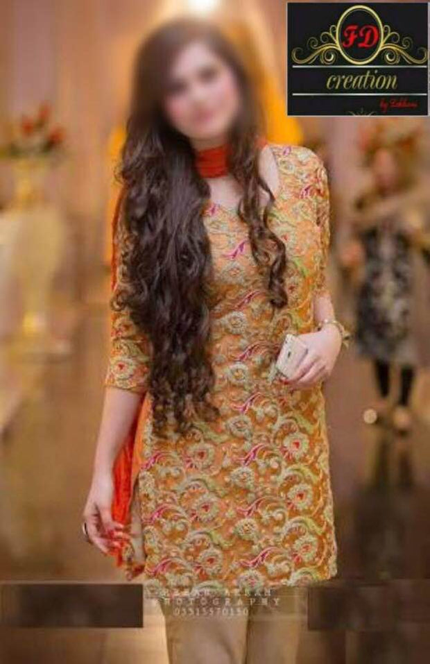 Erum Khan Party Wear Collection Front Full Doriwork Embroidered In Chiffon - Replica - Unstitched