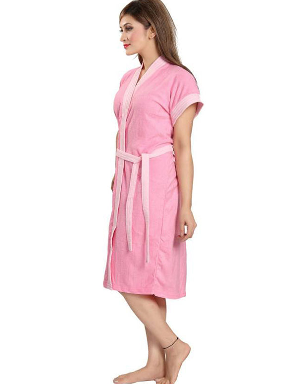 Ladies Bathrobe Soft Cotton - Baby Pink