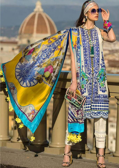 Sana Safinaz With Chiffon Dupatta Printed Lawn Front Back & Sleeves Full Heavy Embroidered Front- Replica - Unstitched