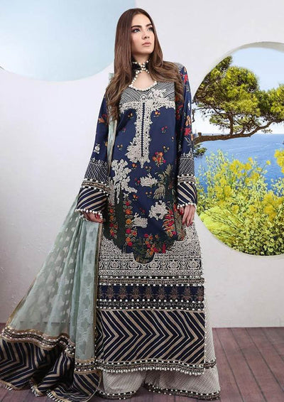 Sana Safinaz Collection Printed Lawn Front Back & Sleeves Embroidered Front Printed Trouser Printed Chiffon Dupatta - Replica - Unstitched