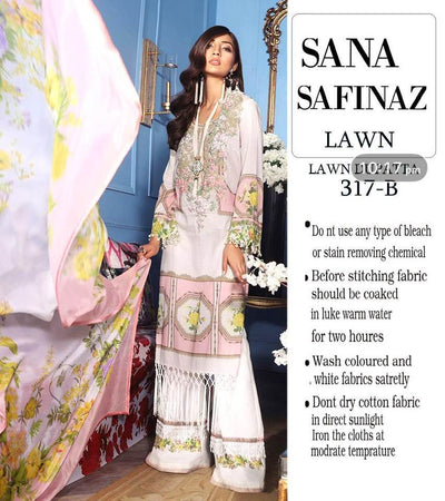 Sana Safinaz Collection Lawn Suit With Chiffon Dupptta - Replica - Unstitched