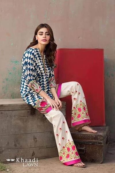 Khaadi Collection Fabric Lawn Heavy Embroidry Front Daman Embroidry Patch - Replica - Unstitched