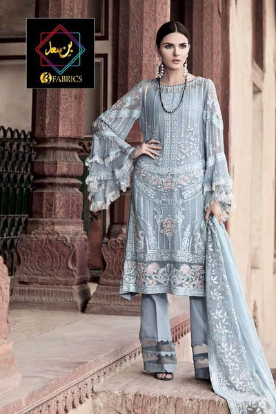 Gul Ahmed Collection Fabric Full Suit On Bamber Chiffon - Replica - Unstitched