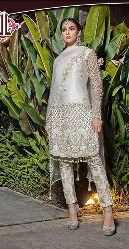 Paki SHIRT Front Embroidered & With Heavy Embroided Damman, Cutwork,Sequenced, Pearls & Hanging Tassles For Daman Back Embroided Net- Replica - Unstitched