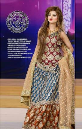 Paki Bridal Dresses(BRIDAL SHARARA)(Replica) (Unstitched)