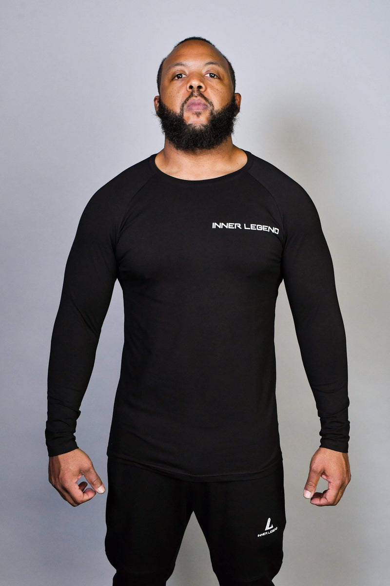 SCRIPT LONG SLEEVE T-SHIRT - BLACK