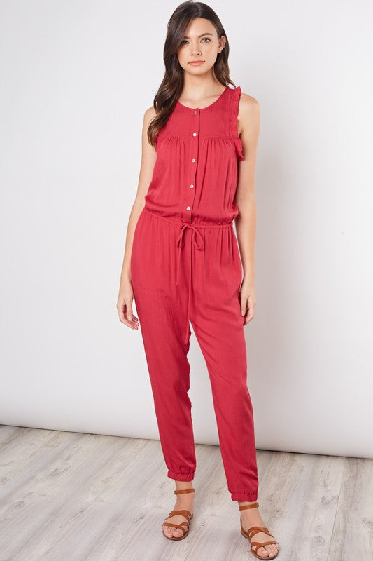 Ruffled Button Me Up Jumpsuit- Berry