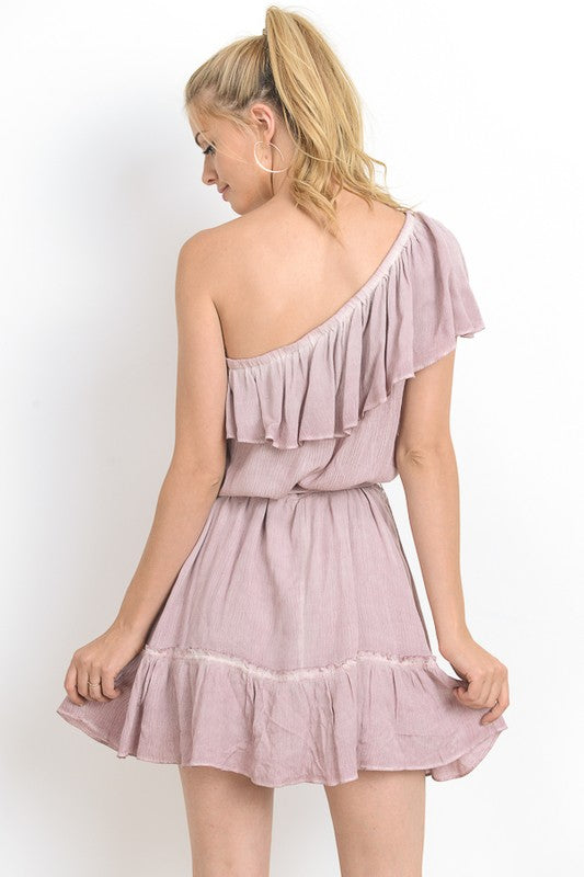 Antique Rose One Shoulder Dress
