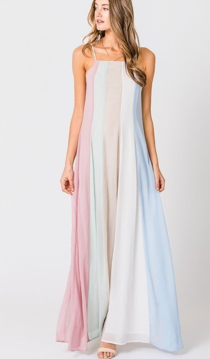 Pastel Colorblock Rainbow Maxi Dress