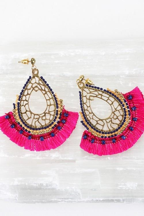 Pink/ Navy Oval Fringe Statement Earrings