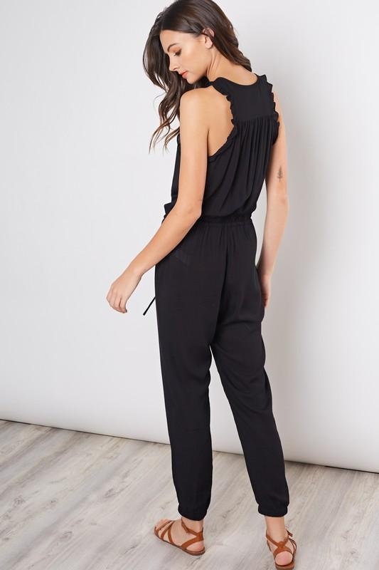 Ruffled Button Me Up Jumpsuit
