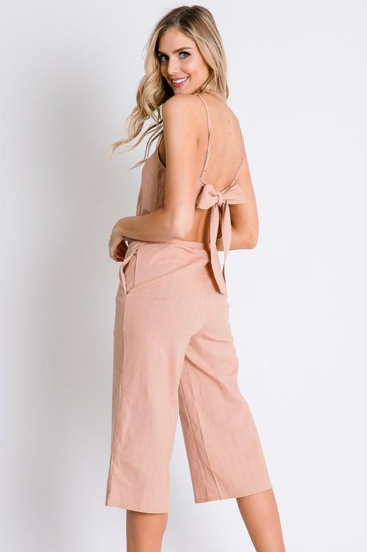 Spring Time Bow Back Romper - Blush