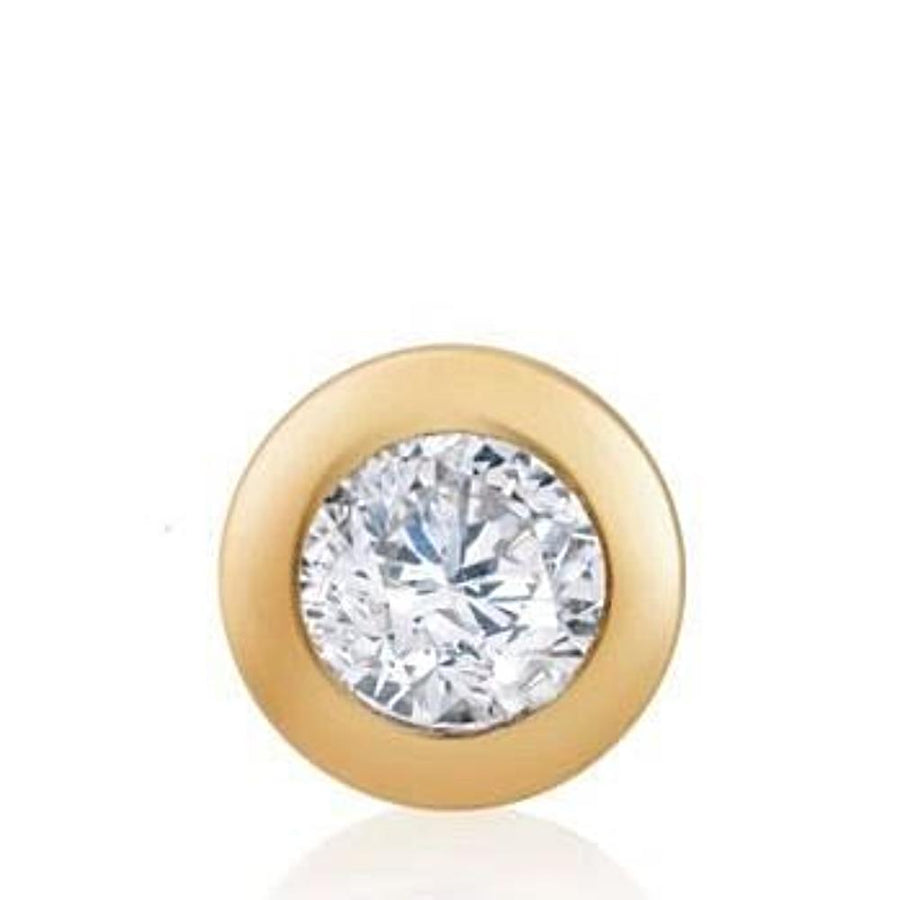 "14k Yellow Gold Stud Earring with Genuine Diamond Bezel Set, 0.10"" WIdth"