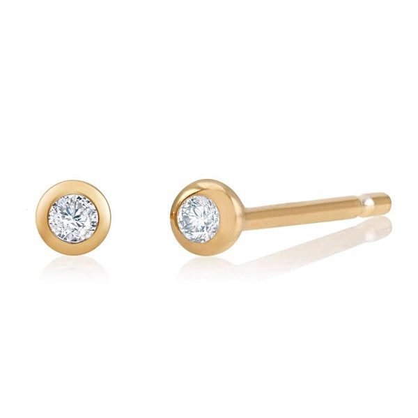 14k Yellow Gold Tiny Diamond Bezel Stud Earrings - Chillatto
