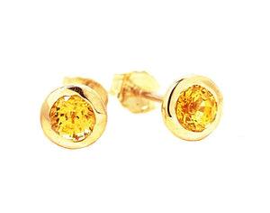 14k Yellow Gold Yellow Sapphire Bezel Stud Earrings 0.30 Carat
