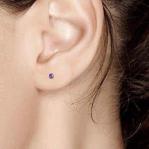 "Amethyst Bezel Set Stud Earrings measuring 0.16"" - Chillatto"