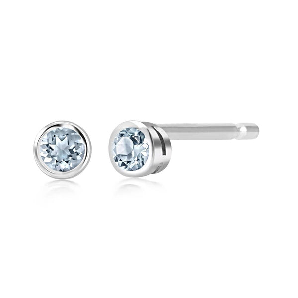 "Aquamarine Bezel Set Stud Earrings measuring 0.16"" - Chillatto"