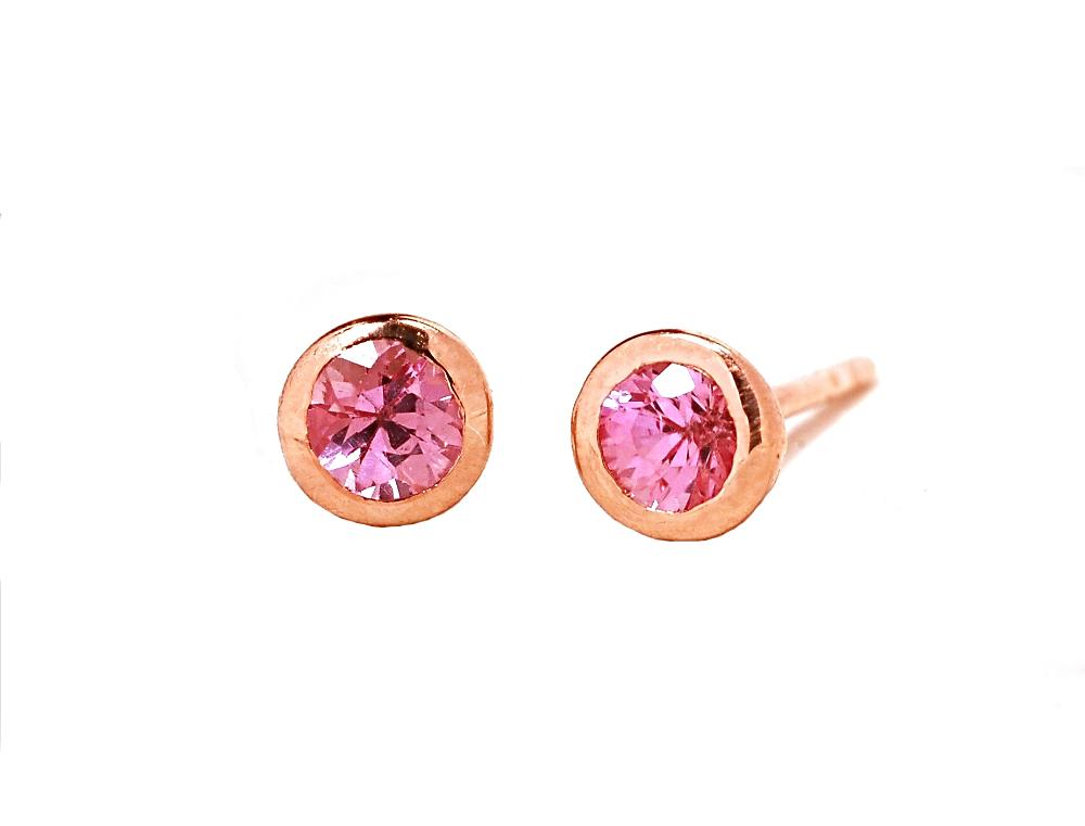 81c6ea834 18k Rose Gold Pink Sapphire Stud Earrings - Chillatto