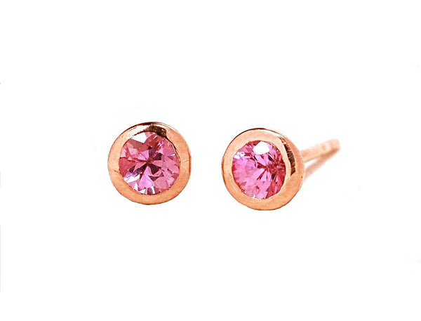 18k Rose Gold Pink Sapphire Stud Earrings - Chillatto