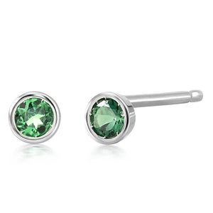 Emerald Bezel Stud Earrings Weighing 0.10 Carat