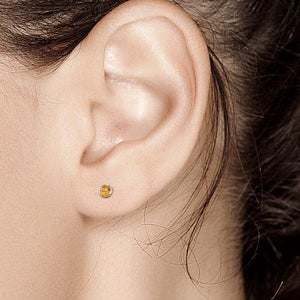 14k White Gold Yellow Sapphire Stud Earrings 0.12 Carat - Chillatto