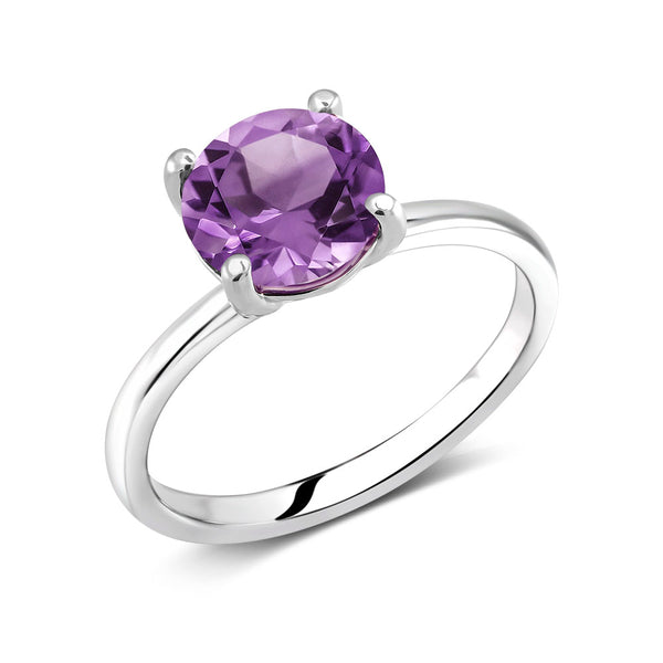 Round Amethyst Solitaire Ring Weighing Two Carat - Chillatto