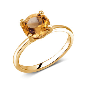 Round Yellow Citrine Solitaire Ring Weighing 2 Carat - Chillatto