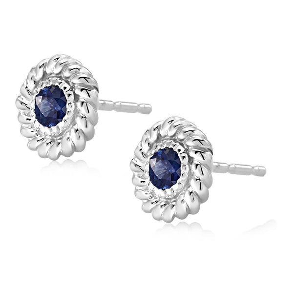 14k White Gold Sapphire Braided Stud Earrings - Chillatto