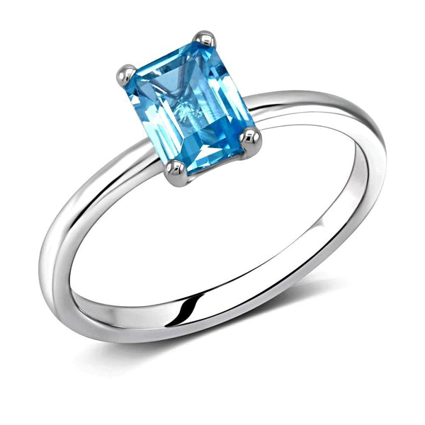 Emerald Cut Blue Topaz Solitaire Ring Weighing One Carat - Chillatto