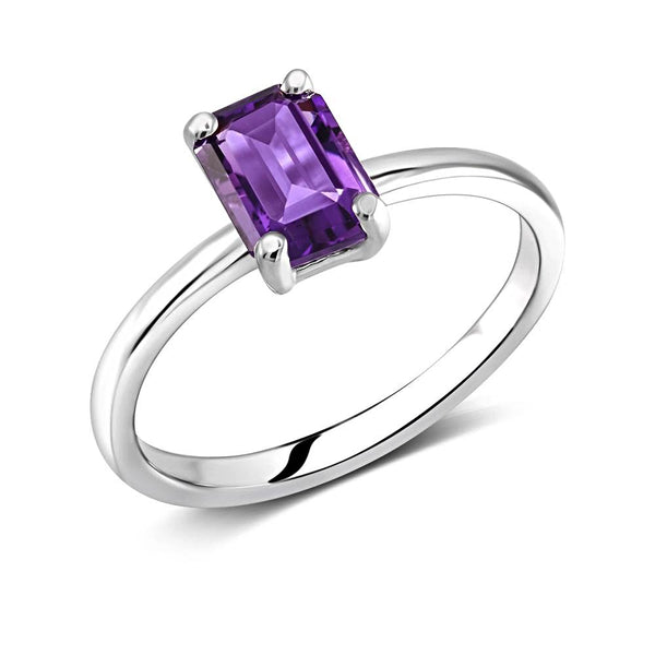 Emerald Cut Amethyst Solitaire Ring Weighing One Carat