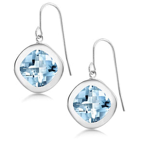 Cushion Shape Light Blue Topaz Bezel Set Hoop Earrings Weighing 8 Carat - Chillatto
