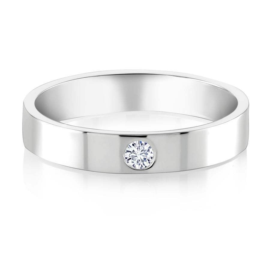 Single Diamond Wide Wedding Band - Chillatto