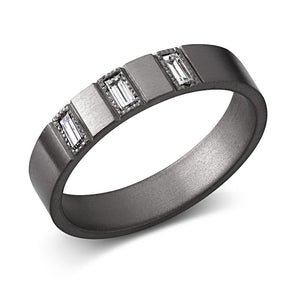 Man Blacken Baguette Diamond Wedding Band 4.5m - Chillatto