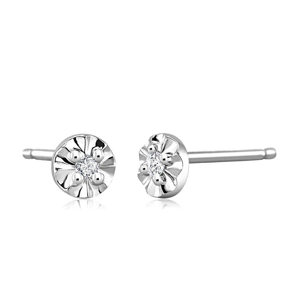 14k White Gold Stud Earrings with Tiny Diamonds 0.05 Carats - Chillatto