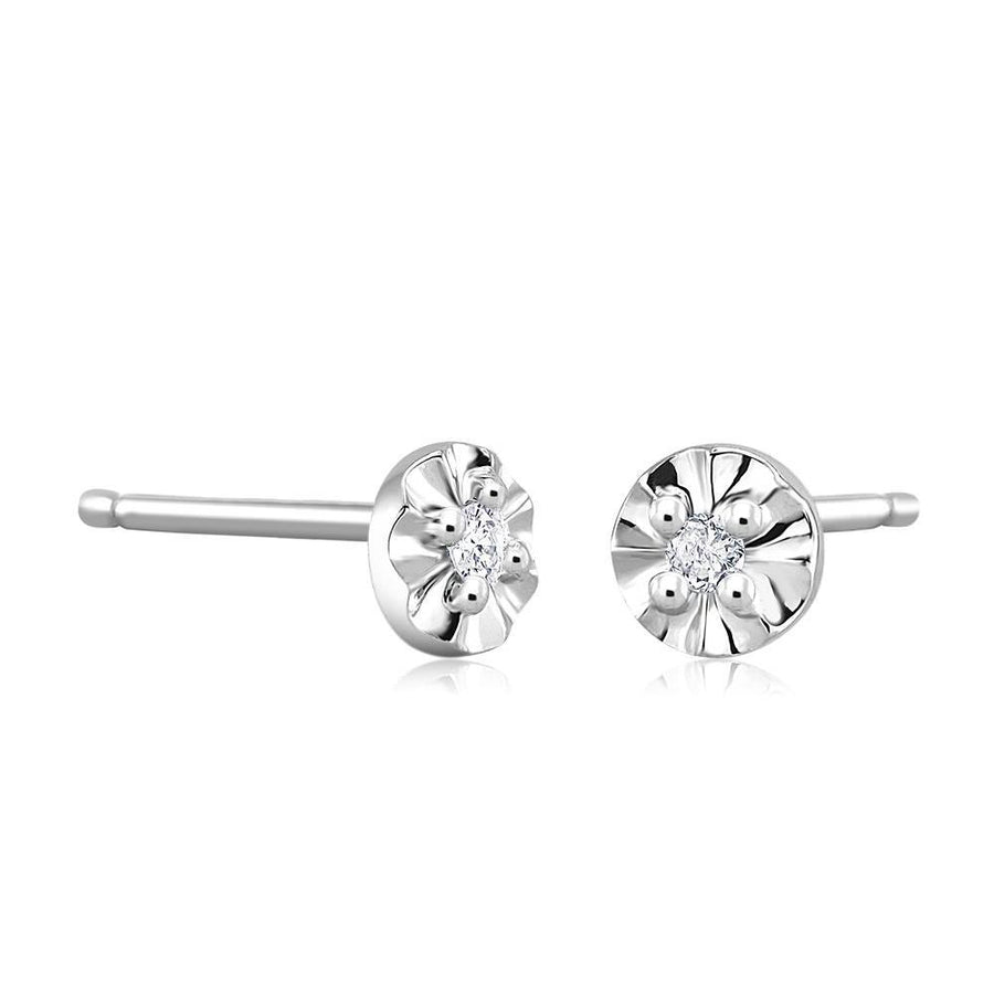 14k White Gold Stud Earrings with Tiny Diamonds weighing 0.05 Carats