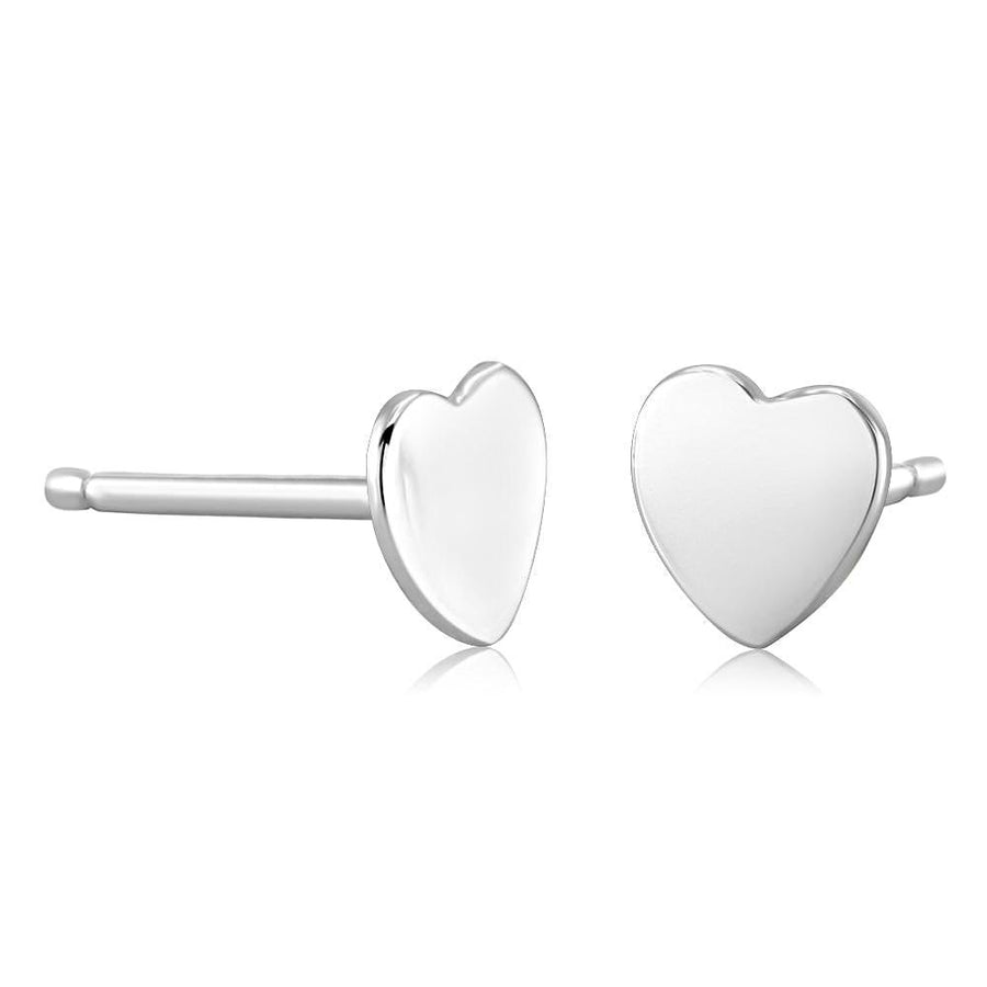14k White Gold Heart Stud Earrings