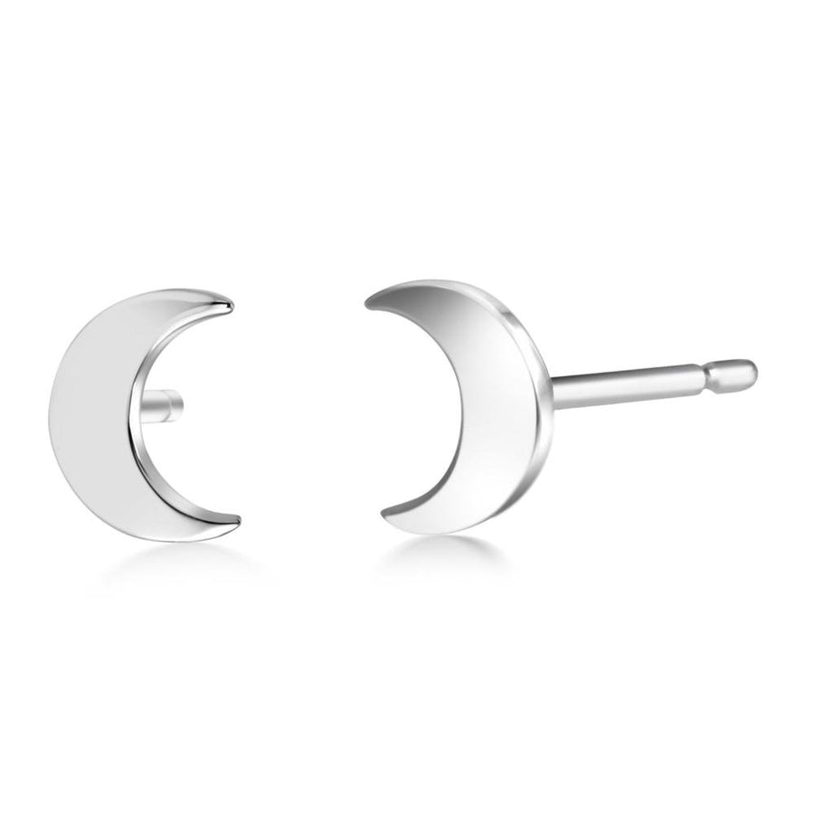 14k Gold Half Moon Stud Earrings - Chillatto