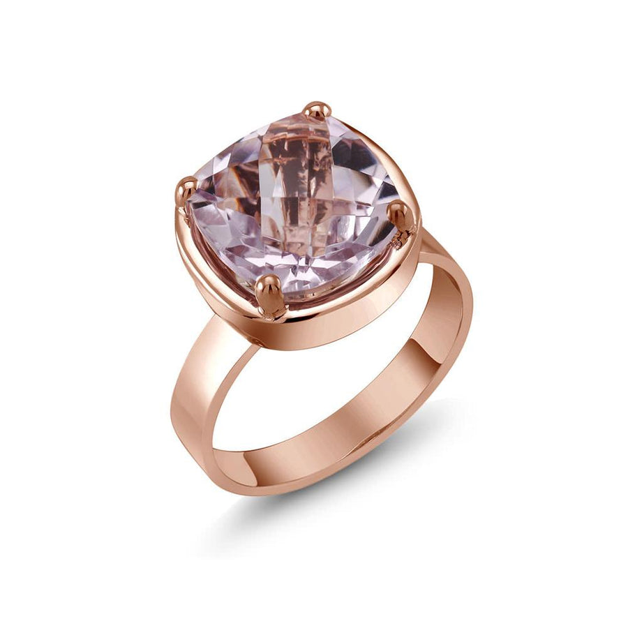 Ring with Genuine Cushion Shape Pink Amethyst, Rose Gold Plated