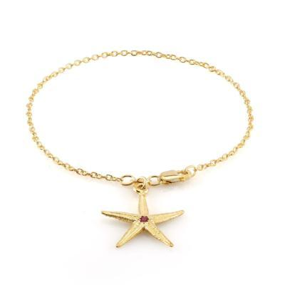 Ruby Star Shape Charm Link Bracelet with Lobster Claw Lock - Chillatto