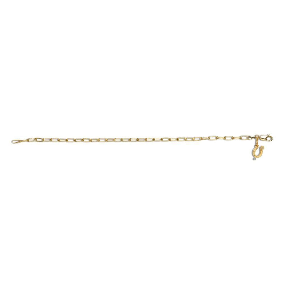 Charm Bracelet with Diamond Horseshoe Charm, Yellow Gold Plated