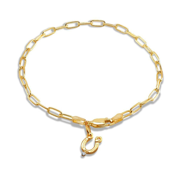 Horseshoe One Diamond Charm Bracelet - Chillatto