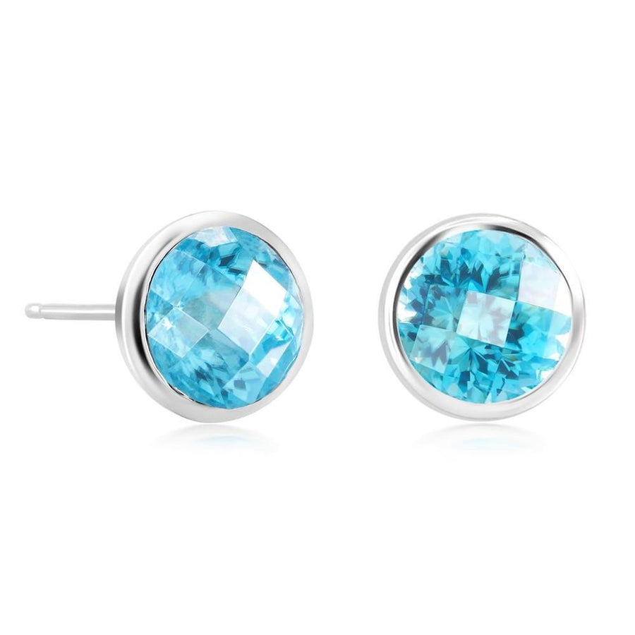 Blue Topaz Bezel Set Stud Earring Weighing Four Carat - Chillatto
