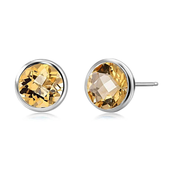 Yellow Topaz Bezel Stud Earring Weighing Four Carat - Chillatto