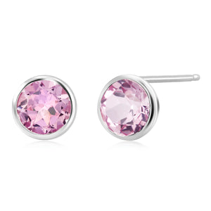 Pink Topaz Bezel Set Stud Earring Weighing 3 Carat - Chillatto