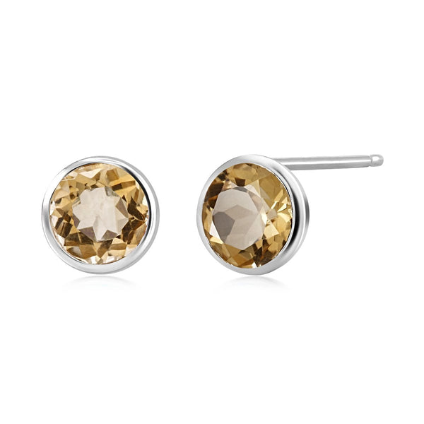Yellow Citrine Bezel Set Stud Earrings Weighing 3 Carat - Chillatto