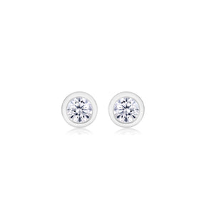 Diamond Bezel-Set Stud Earrings Weighing 0.06 Carat - Chillatto