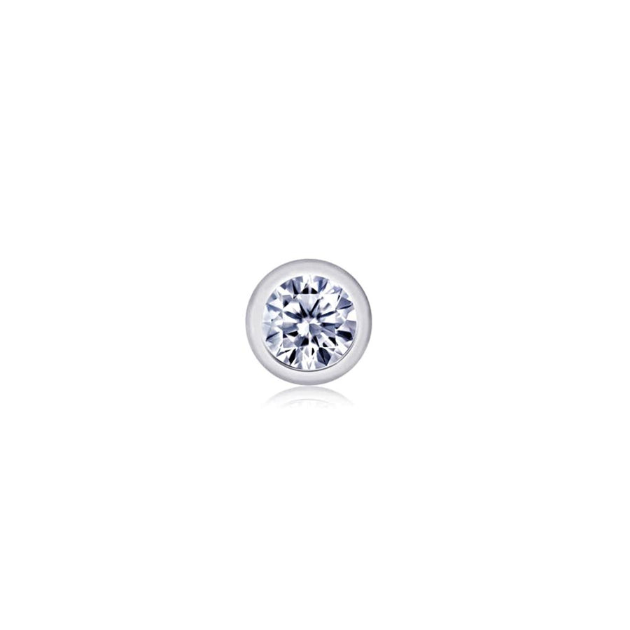 14k White Gold Diamond Single Bezel Stud Earring - Chillatto