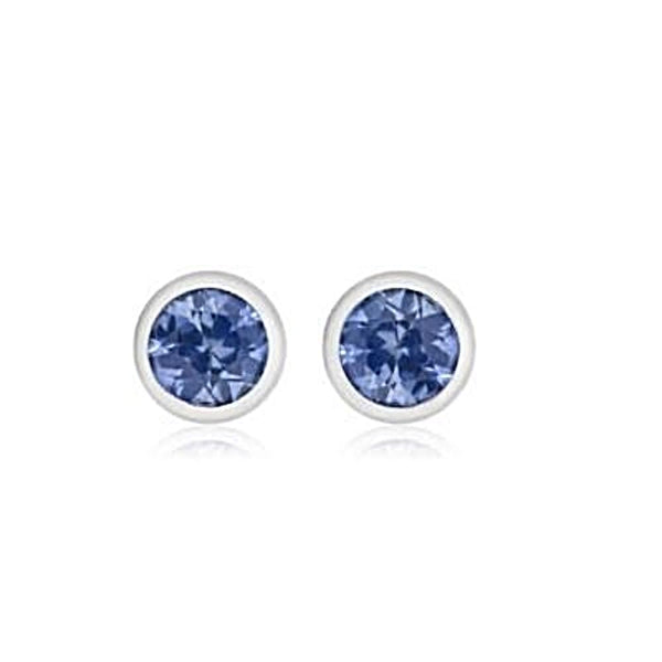 "14k White Gold Blue Sapphire Stud Earrings 0.17"" width - Chillatto"