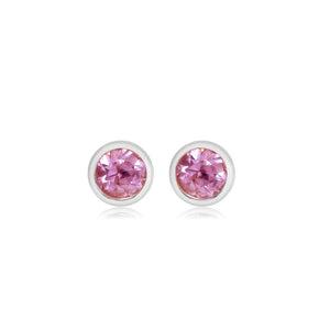 Half a Pair  Pink Sapphire Bezel Stud Earring Weighing 0.04 Carat - Chillatto