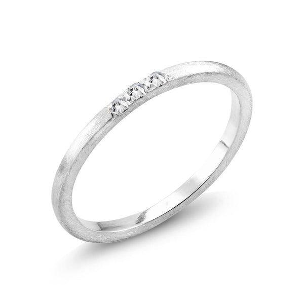 Wedding Band with 3 Pave Set Diamonds Weighing 0.06 Carat - Chillatto